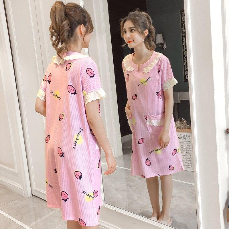 Summer nightdress for pregnant women nursing month pajamas dress Breastfeeding Pajamas Clothes Cotton Maternity Sleepwear
