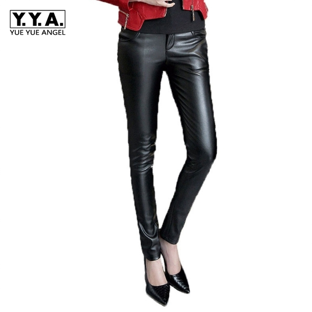 Ladys Fashionable Sheepskin Leather Trousers Leather Pants Brand New Women  Long Pants PU Leather Casual Plus Size Black Red ccf6808d8