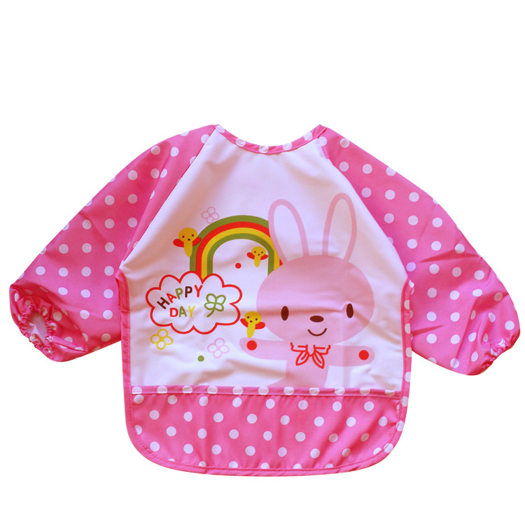 Long Sleeve Baby Bibs Waterproof Baby Feeding Bib Apron Clothing Cartoon Animal Lion Rab ...