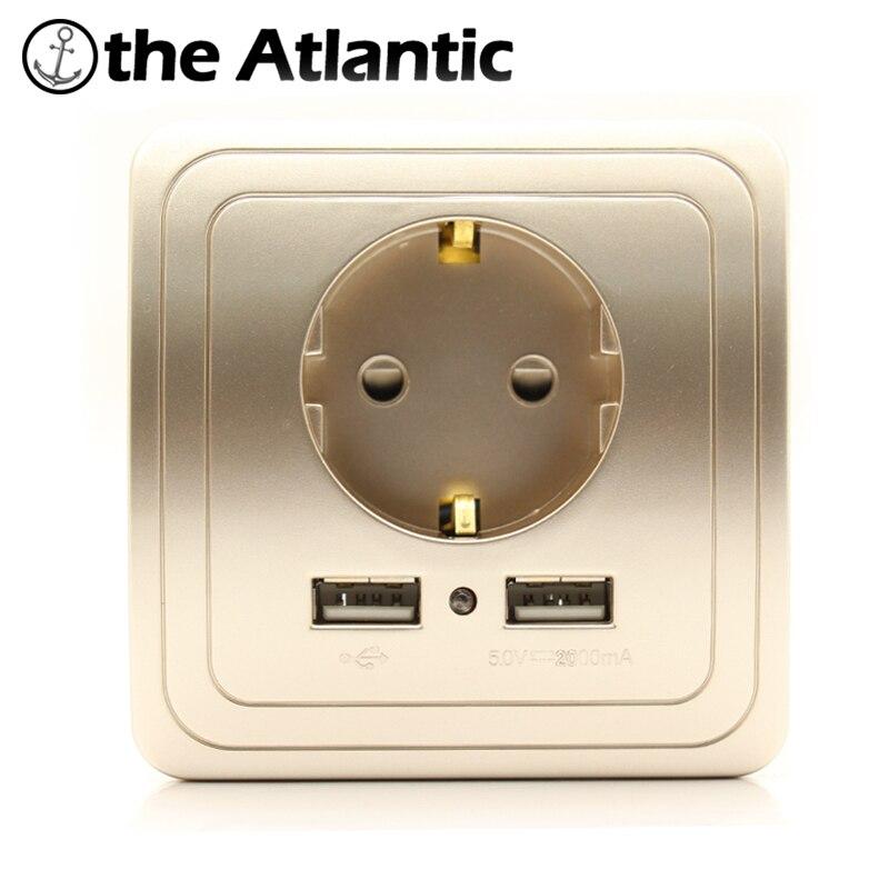 Best Dual USB Port <font><b>2A</b></font> Wall <font><b>Charger</b></font> <font><b>Adapter</b></font> EU Plug Socket Power Outlet PanelGrounded Electric Wall <font><b>Charger</b></font> <font><b>Adapter</b></font> Charging