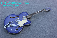 free shipping new hollow electric guitar in blue with mahogany body and chrome hardwarer for jazz music +foam box F-1974