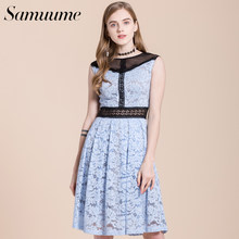 Samuume Women Summer Patchwork Hollow bridesmaid Elegant Lace Dress 2018 Sleeveless A-line Princess Midi Party Dresses A1708090(China)