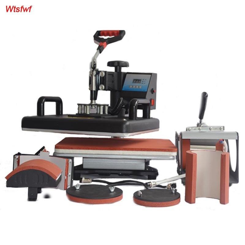 Wtsfwf 30 38CM 6 in 1 Combo Heat Press Printer 2D Sublimation Transfer Printer for Cap