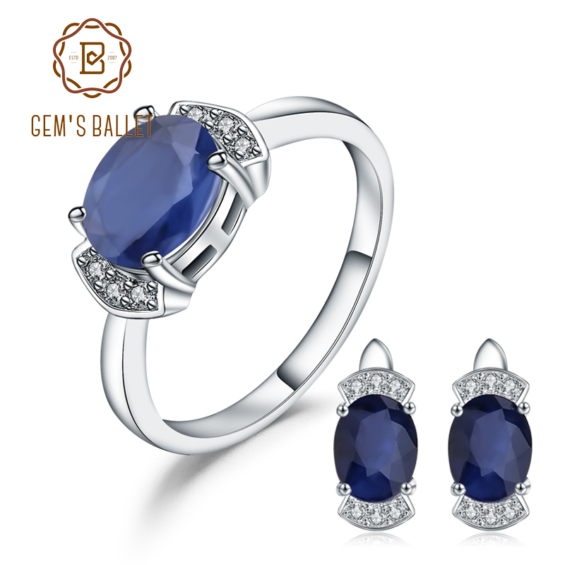 GEM S BALLET Classic Natural Blue Sapphire Earrings Statement Ring Set 925 Sterling Silver Jewelry Set