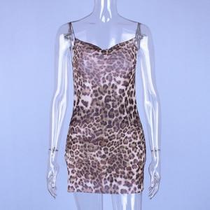 Image 5 - Hugcitar slit mesh see through leopard print spaghetti straps sexy mini slip dress2019 summer women Christmas party clothes