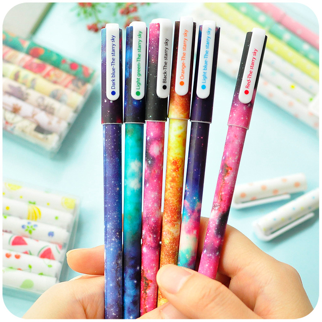 6 Pcs / Set Color Gel Pen Starry Pattern Cute cat Hero Roller Ball Pens Stationery Caneta Escolar Office School Supplies