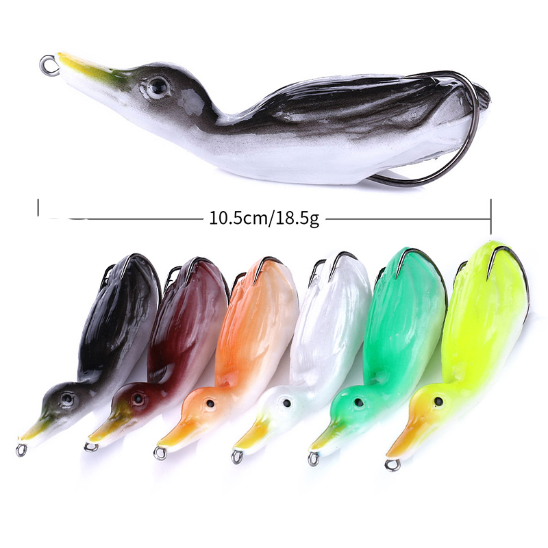 HENGJIA 10.5cm18.5g Duck Floating Soft Lure Shad Wobblers Silicone Fishing Lures Worm Artificial Bait Pike Fishing