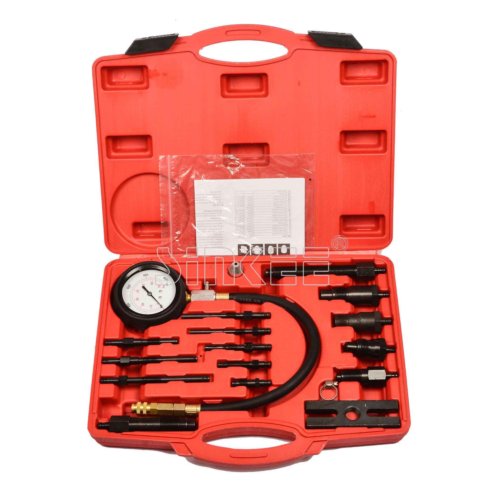 17 pc Diesel di Compressione del Motore Cilindro di Pressione del Tester del Calibro Kit Set SK102817 pc Diesel di Compressione del Motore Cilindro di Pressione del Tester del Calibro Kit Set SK1028