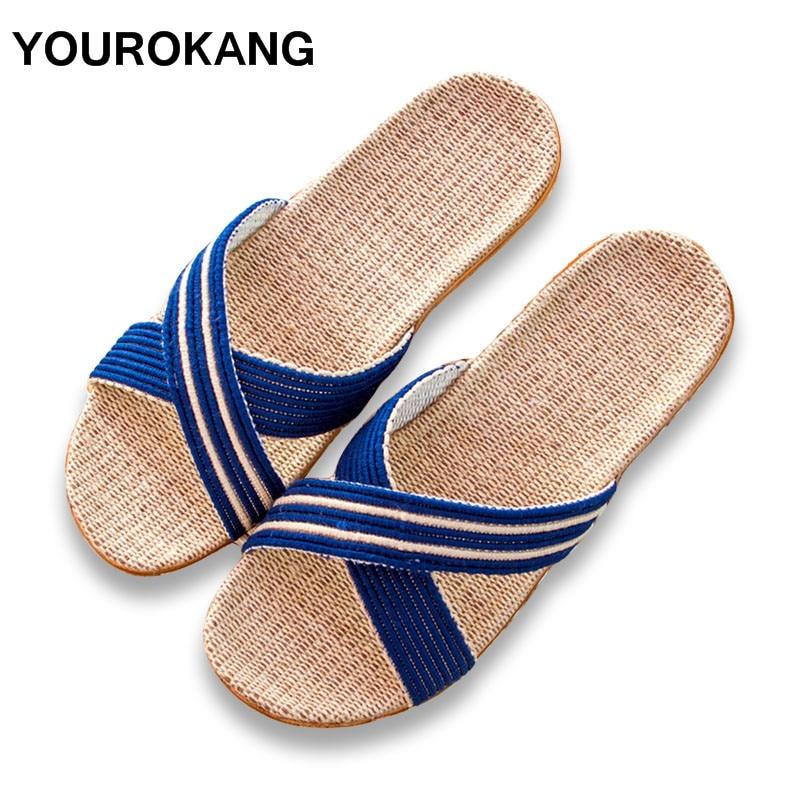 Summer Couple Home Slippers Fashion House Linen Slipper Antiskid Waterproof Flax Flip Flops Indoor Floor Men & Women Shoes