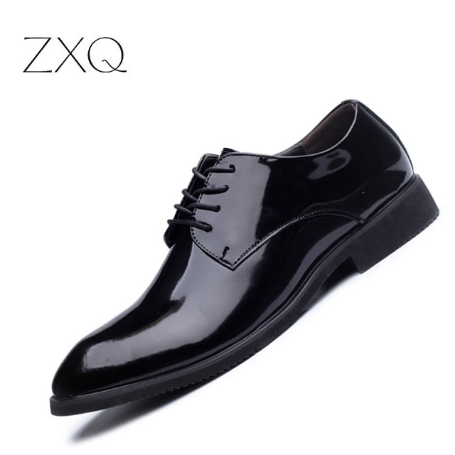 Luxury 2017 Newest Patent Leather Shoes Men Formal Business Flat
