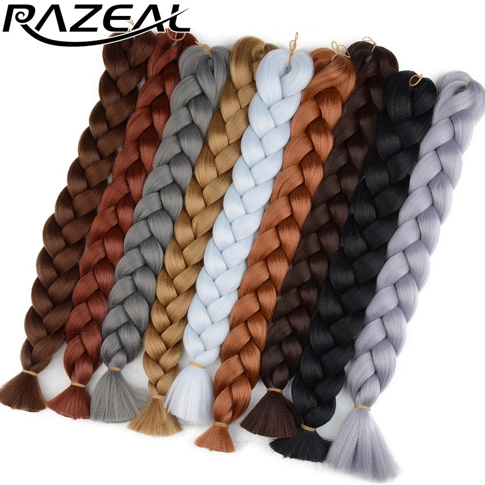Hair Braids Hair Extensions & Wigs Razeal 1824 Pure Color Synthetic Jumbo Braids Hair Tresse Long Crochet Hair Braiding Hair Extensions Durable In Use