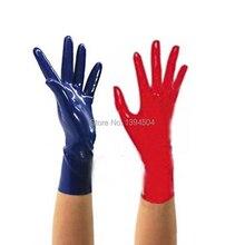 Egzotyczna seksowna bielizna unisex kobiety mężczyźni krótki czarny czerwonym lateksem rękawiczki na nadgarstki cekc Zentai fetysz bez łączonej linii