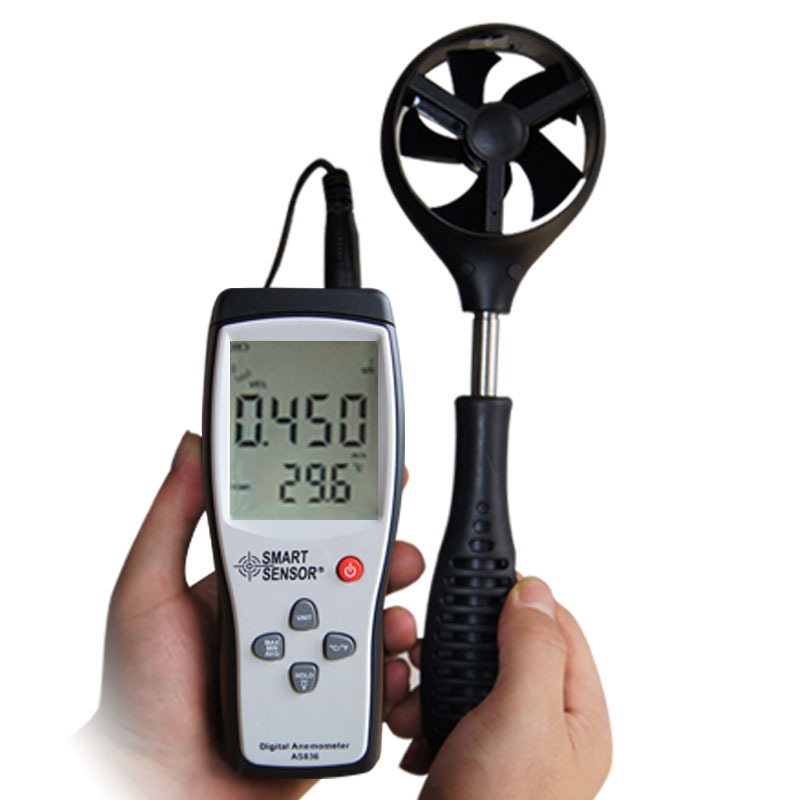 цена на Smart Sensor AS836 Digital Wind Speed Gauge Meter anemometer wind speed meter wind direction45m/s relative temperature