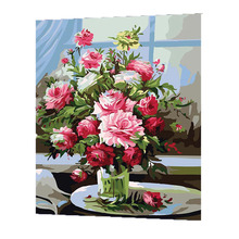 WONZOM Pink Flowers Vase Painting By Numbers On Canvas DIY Handpainted 2017 Coloring Digital Home Decor Gift
