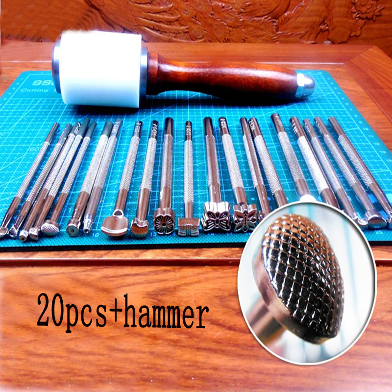 Handmade leather DIY tool 20pcs Printing punch + hammer+A4 plate, Leather carvings Carving tools round handmade wallet semi cirle knife handmade leather diy tool