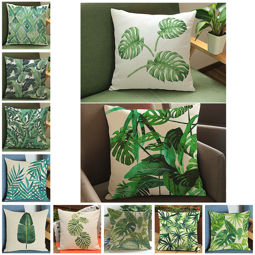 Fashion High Quality Cotton Linen Africa Tropical Plant Leaf Decorative Throw Pillow Case Cushion Cover Sofa Home Decor