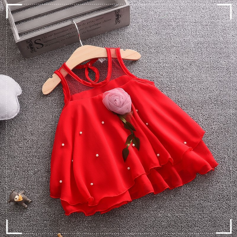 Baby girls Summer dress for 6m 12m 18m 24m Fashion Style O-neck Chiff Material Sleeveless Good quality DF002 baby Clothing