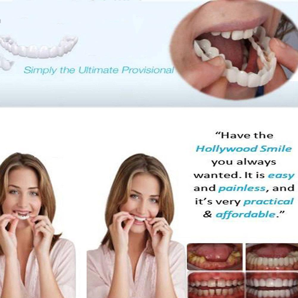 Whitening Perfect Smile Veneer Down Teeth Fake Tooth Cover On Smile Instant Teeth Cosmetic Denture Care for Upper One Size Fits 1