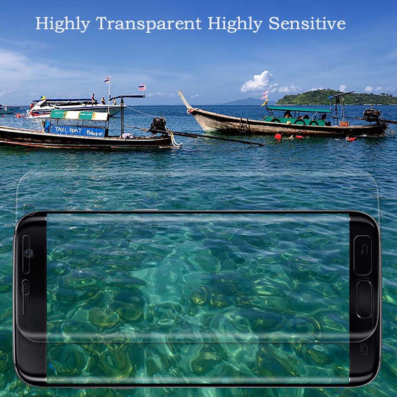 Для samsung Galaxy S9 S7 S6 край S8 Plus Note 8 9 Экран Защитная ПЭТ плёнка полностью покрывающая 3D изогнутый круглый край (не калёное Стекло