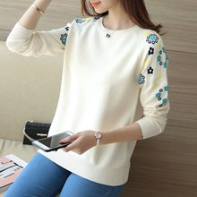 2018 autumn/winter long sleeve joker head set loose render unlined upper garment embroidery Chinese wind sweater(China)