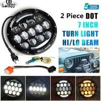 CO LIGHT 7 Inch 105W Round Halo LED Headlight DRL Hi Lo Turn Signal Light For