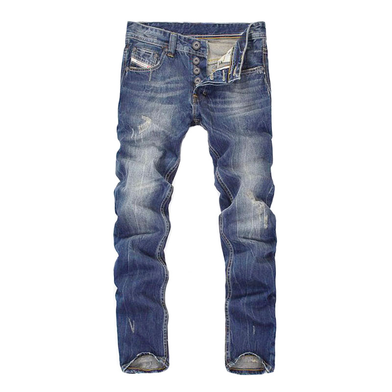 Italian Style Fashion Men's   Jeans   Dark Blue Straight Fit High Quality Ripped   Jeans   Denim Buttons Pants Brand Classical   Jeans   Men