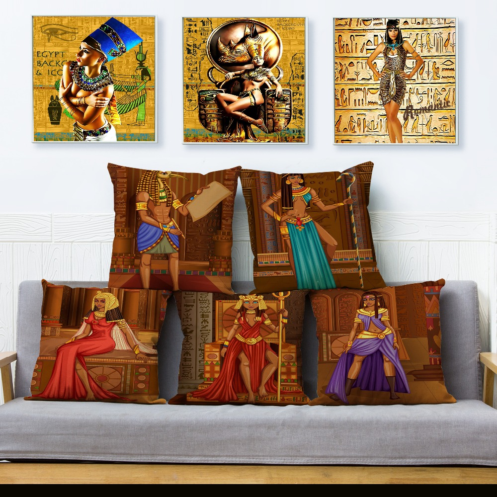 Ancient Egypt Cleopatra Totem Print Cushion Cover45*45 Square Pillow Covers Beige Linen Pillows Cases Sofa Home Decor Pillowcase