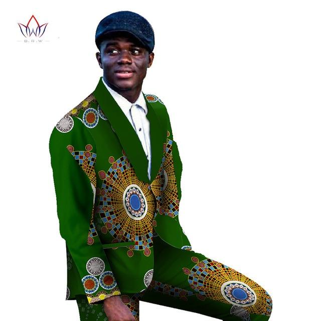 Men Blazers and Jackets 2016 Men's Sets Dashiki for Men African Print 100% Cotton Long Pants African Men Clothes 6XL BRW WYN183