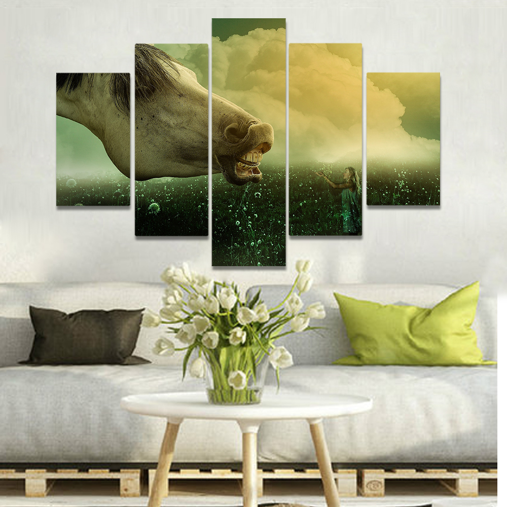 Unframed Canvas Painting Huge Horse Head Little Girl Dandelion Picture Prints Wall Picture For Living Room Wall Art Decoration