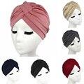 2016 Sombreros de Las Mujeres de algodón elástico turbante dome cap head wrap Cáncer Quimioterapia Pañuelos en La Cabeza Hijab de la Pérdida Del Cabello Alopecia Tapas