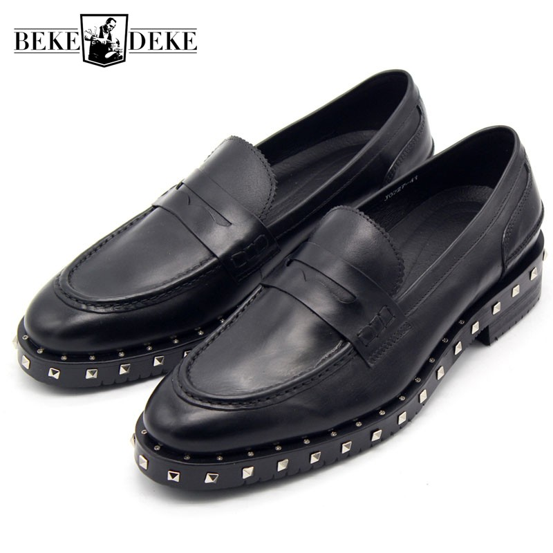 Top Brand Men Genuine Leather Moccasin Slip On Loafers Rivet Wedding Party Dress Shoes Zapatos Hombre Block Heels Man Footwear