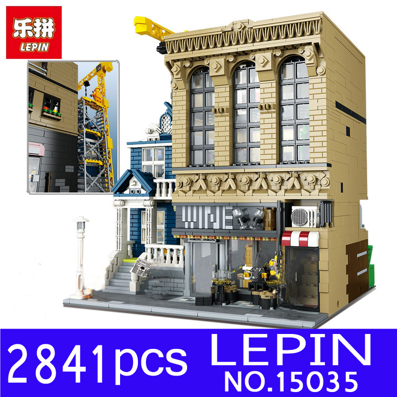 Lepin 15035 2841Pcs City Creative Streetsight MOC Series The Bars and Financial Companies Set Building Blocks Bricks Toys Gifts ynynoo lepin 02043 stucke city series airport terminal modell bausteine set ziegel spielzeug fur kinder geschenk junge spielzeug