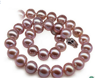 DYY+++816   genuine south seas pink purple pearl necklace 18inch