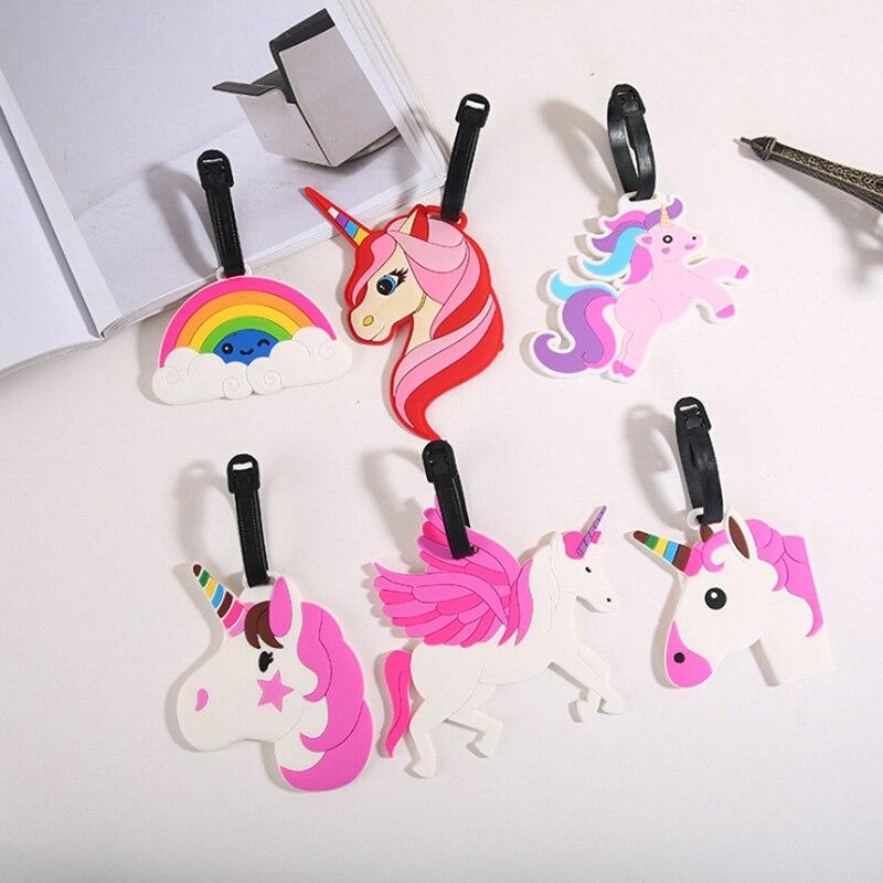 Creative Luggage Tag Animal Unicorn Rainbow Cartoon Silica Gel Suitcase ID Address Holder Baggage Boarding Tags Portable Label