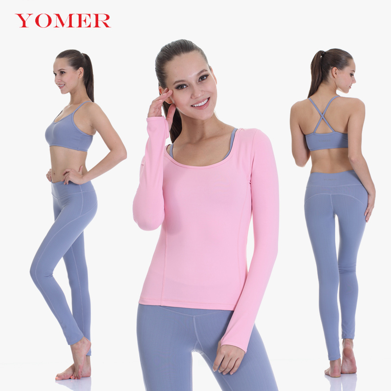 YOMER Yoga Sets Women Gym Clothes Cotton Blends Material Breathable Sports Bra + Pants + Shirt Yoga Set Trousers Long Sleeves 2017 women yoga sets 3 pieces t shirt bra pants fitness workout clothing women gym sports tops running slim leggings sport suit