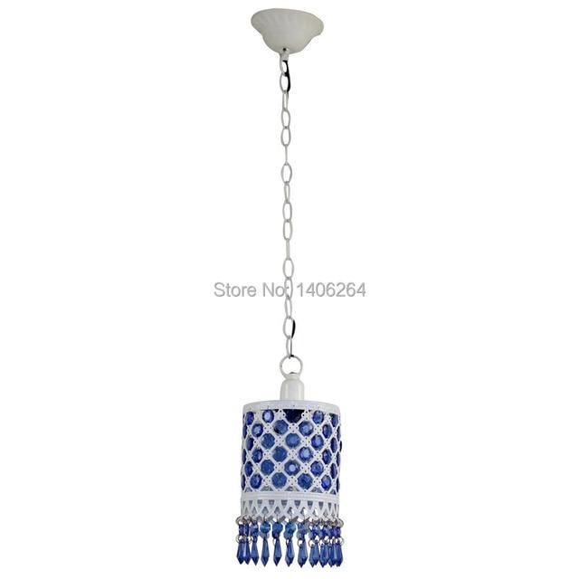 Bohemian Crystal Ceiling light Wrought Iron K9 Blue Crystal Single Head Droplight