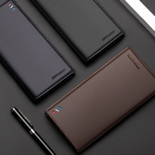 BISON DENIM Genuine Leather Wallet Men Long Business Slim