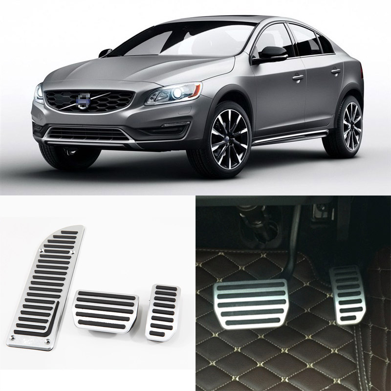 Brand New 3pcs Aluminium Non Slip Foot Rest Fuel Gas Brake Pedal Cover For Volvo S60 AT 2014-2016 brand new 3pcs aluminium non slip foot rest fuel gas brake pedal cover for nissan teana at 2008 2016