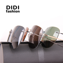 DIDI Polarized Couple Sunglasses Men Ultralight Rimless Titanium Glasses Aviator Driving Women Luxury Eyewear Cool Lunette H497