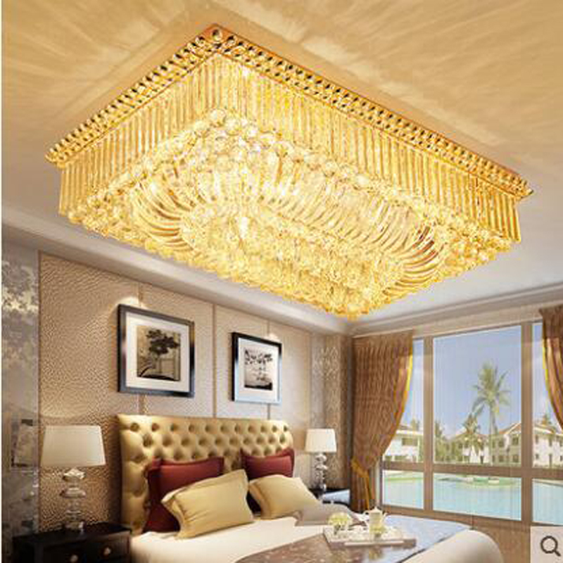 Modern golden rectangular crystal lamp living room atmosphere simple ceiling lamps led bedroom dining room study lighting lamps rectangular europe living room crystal lights led ceiling lamps bedroom modern minimalist dining room lighting high quality
