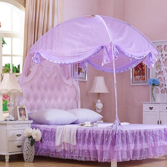 Doble puerta mosquitera Mongolia reina tamaño Canopy cama púrpura cama con dosel