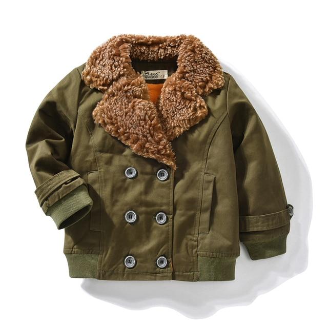 Baby Boys Coats Male Spring Winter Fashion Korean Children's Plus Velvet Collar Warming Cotton Fleece Jacket For Kids Outerwear