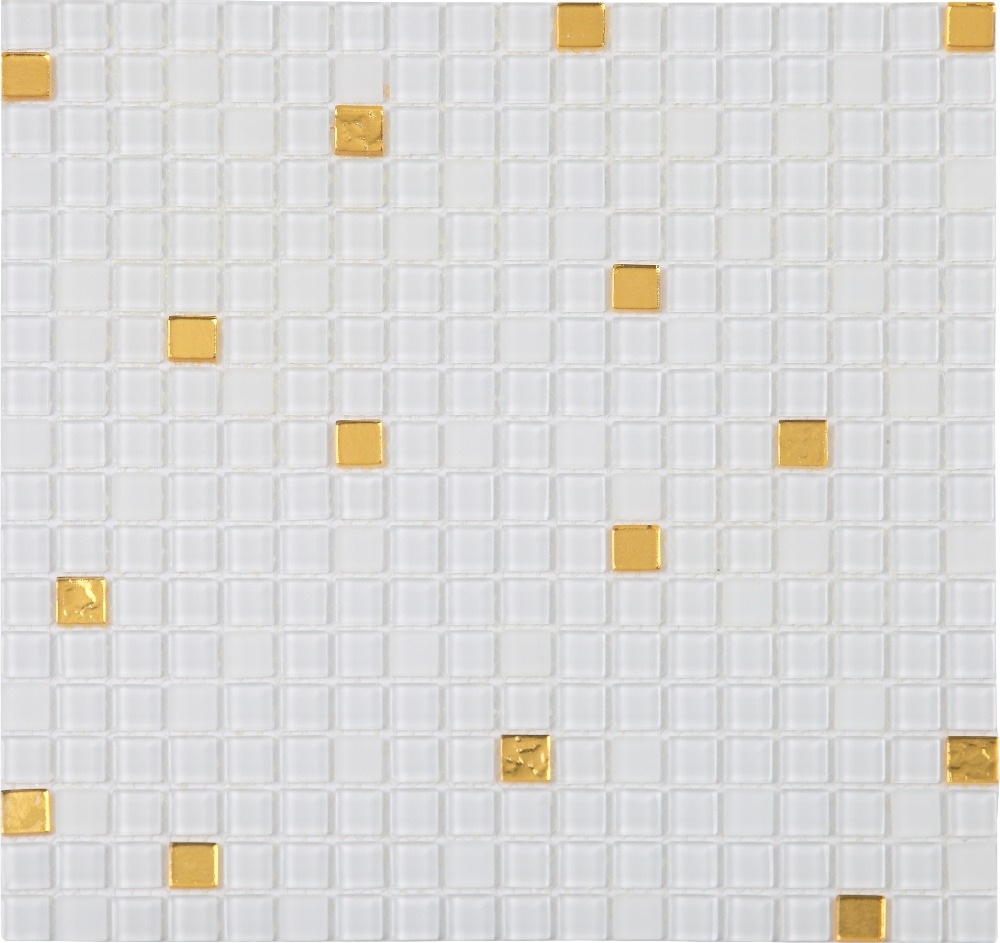- White Puzzle Parquet Mosaic Balcony Bathroom Clear Glass Mosaic