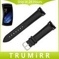 Натуральная Кожа Смотреть Band + Адаптер для Samsung Gear Fit 2 SM-R360 Ремешок Из Нержавеющей Стали Пряжки Ремня Браслет Черный коричневый