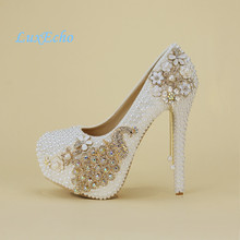 Crystal wedding shoes pearl handmade bridal shoes women's Pumps peacock rhinestone female high heels platform shoes big size