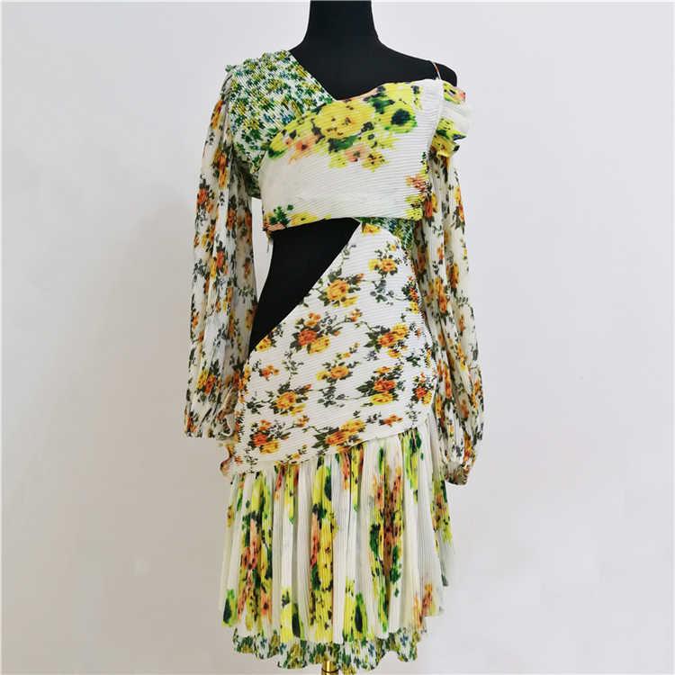 Truevoker летние дизайнерские праздничные Vestidoes женские длинные рукава с открытыми плечами с цветочным принтом драпированные сексуальные курортные платья