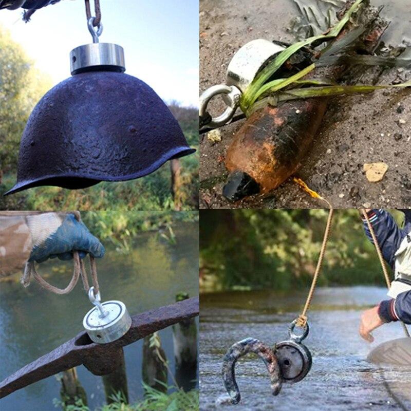 500 KG Double face puissant néodyme aimant grand magnétique fort sauvetage rivière pêche aimants anneau crochet Permanent Imanes