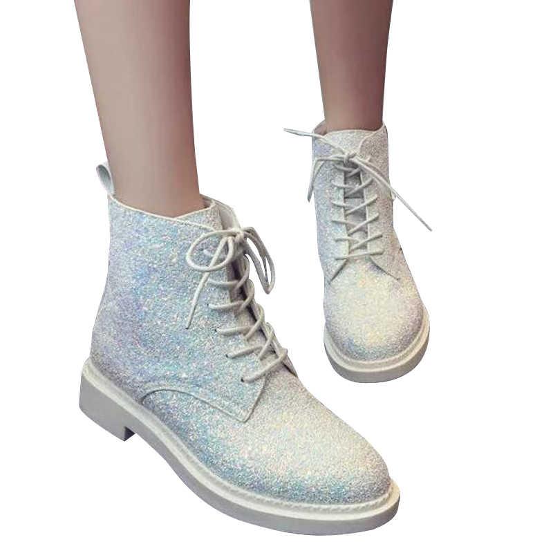 Tangnest Kadın Bahar Dantel-Up yarım çizmeler Kadın platform ayakkabılar Kadın Glitter Rahat Nubuk Deri Kayma Flats Çizmeler XWX4718