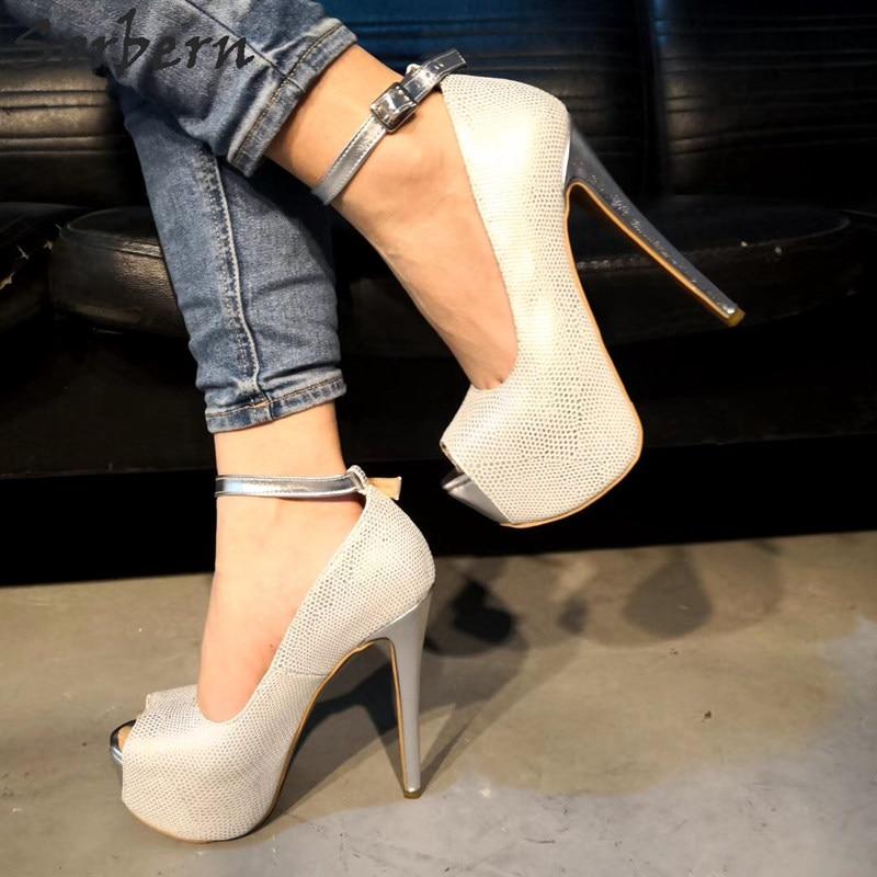 Sorbern Silver Snakeskin Women Pumps Ankle Strap Peep Toe