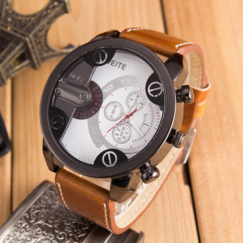 Excellent Quality New Mens Bussiness Quartz Wrist Watches Top Brand Big Dial Leather Strap Sports Watches for Gift ...
